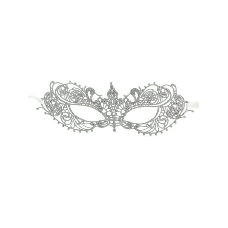 Women's Classic Goddess Venetian Masquerade Lace Eye Mask, Silver - Lace Cat Mask