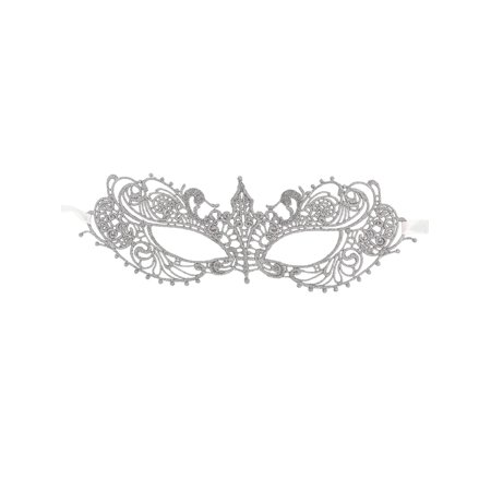 Women's Classic Goddess Venetian Masquerade Lace Eye Mask, Silver - Venetian Masquerade Masks On A Stick