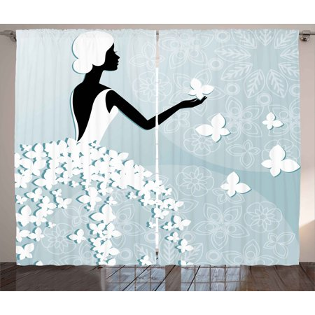 Bridal Shower Decorations Curtains 2 Panels Set, Bride in Butterfly Dress on Abstract Floral Backdrop, Window Drapes for Living Room Bedroom, 108W X 90L Inches, Light Blue and White, by Ambesonne