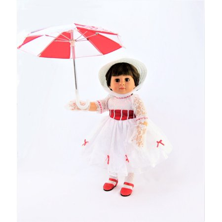 Mary Poppins Inspired Outfit - Includes: Dress, Gloves, Umbrella, & Hat- Fits 18
