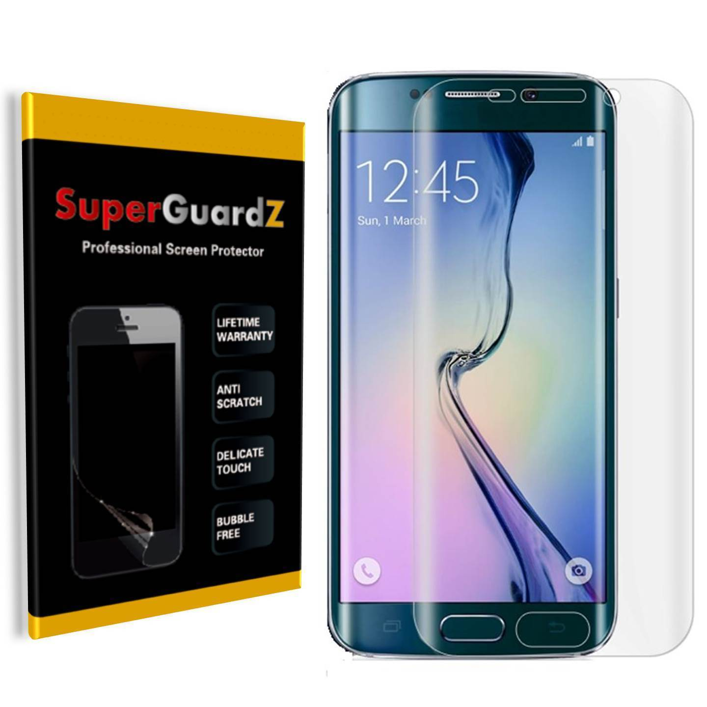 [2-Pack] For Samsung Galaxy S6 Edge+ Plus - SuperGuardZ 3D Curved FULL COVER Screen Protector [HD Clear, Anti-Scratch] + LED Stylus