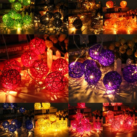 GLIME 20 LED Rattan Ball String Light Battery Home Garden Fairy Wedding Party Decor - Pink Disco Balls