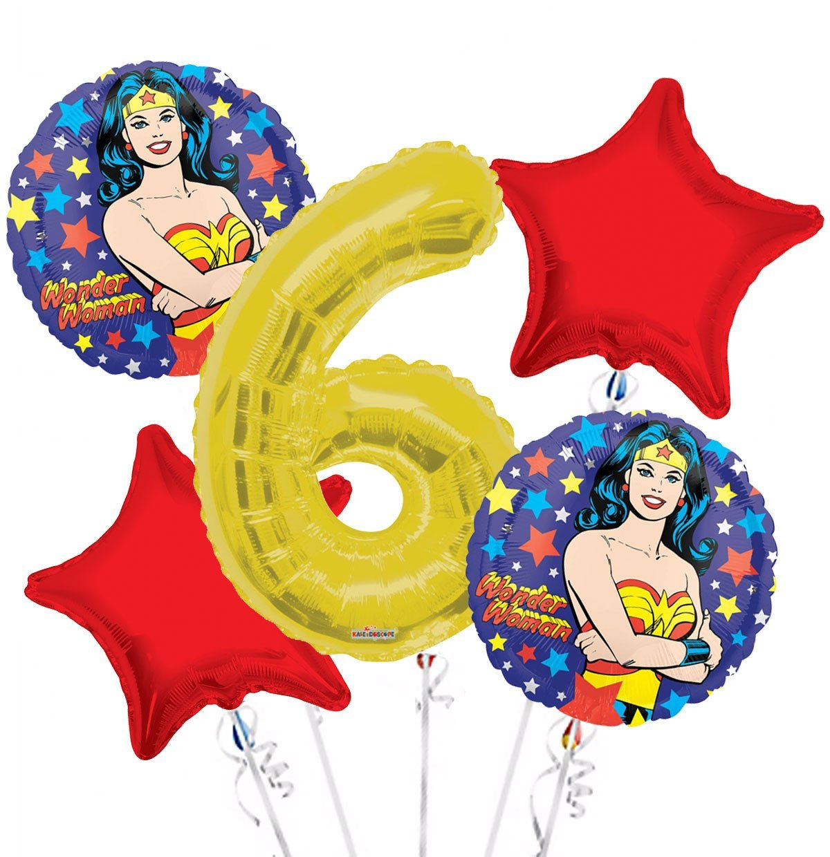 Wonder Women Balloon Bouquet 6th Birthday 5 pcs - Party Supplies, 1 Giant Number 6 Balloon, 34in By Viva Party