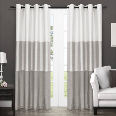Exclusive Home Chateau Striped Faux Silk Grommet Top Curtain Panel, Set of 2 ()