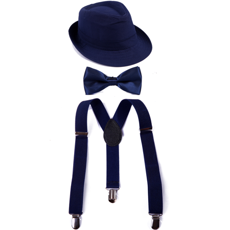 HDE Kid's Funky Design Solid Color Adjustable Elastic Clip Suspenders with Pre-tied Microfiber Neck Strap Bow tie and Short Brim Trilby Fedora Hat (Navy Blue) (White Felt Fedora)