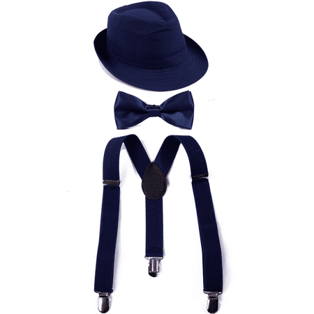 HDE Kid's Funky Design Solid Color Adjustable Elastic Clip Suspenders with Pre-tied Microfiber Neck Strap Bow tie and Short Brim Trilby Fedora Hat (Navy Blue) (White Fedoras)