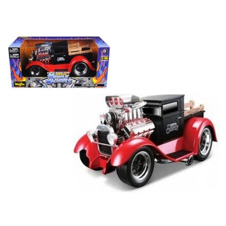 1929 Ford Model A Matt Black/Red Muscle Machines 1/18 Diecast Model Car by
