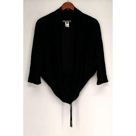 Kate Mallory Sz M Open Front w/ Drawstring Black Sweater Womens