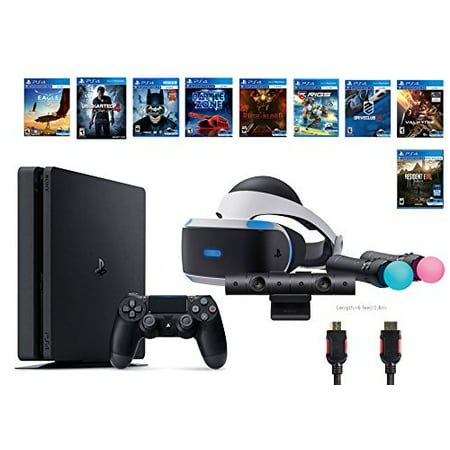 Playstation Vr Deluxe Bundle 12 Items Vr Headset Playstation Camera Motion Ps4 Slim Uncharted 4 8 Vr Game Disc Rush Of Blood Valkyrie Battlezone Batman Driveclub Eagle  Rigs Resident Evil 7 Biohazard