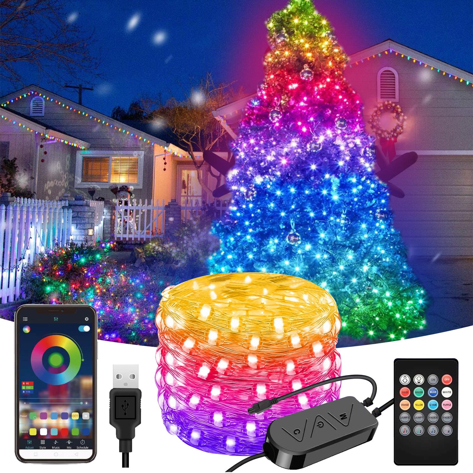 Christmas Tree LED String Lights USB Smart Bluetooth App Control Fairy Lights