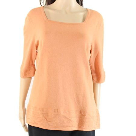Nordstrom New Orange Womens Size Xl Square Neck Textured Knit Top