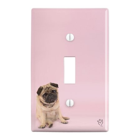 Pug Puppy Dog Sitting Pink Necklace Plastic Wall Decor Toggle Light Switch Plate Cover