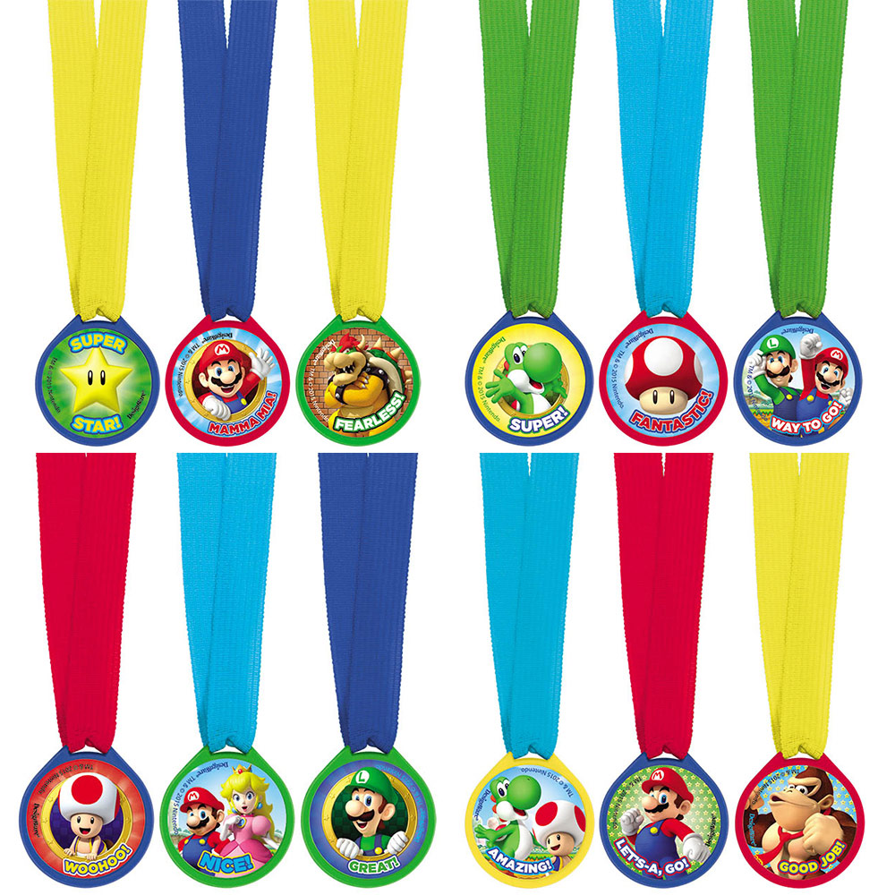 Super Mario Mini Award Medals (12 Pack) - Party Supplies