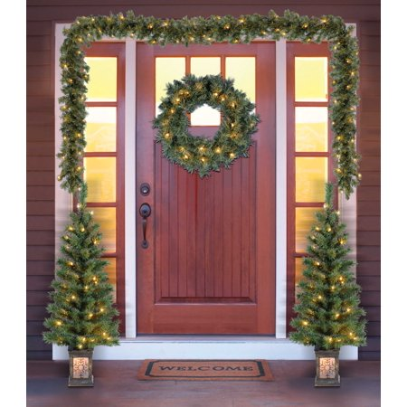 HUIZHOU FORTUNE TREE CO.,LTD Holiday Time Christmas Decor Pre-Lit 5-Piece Entryway Set, Clear Lights
