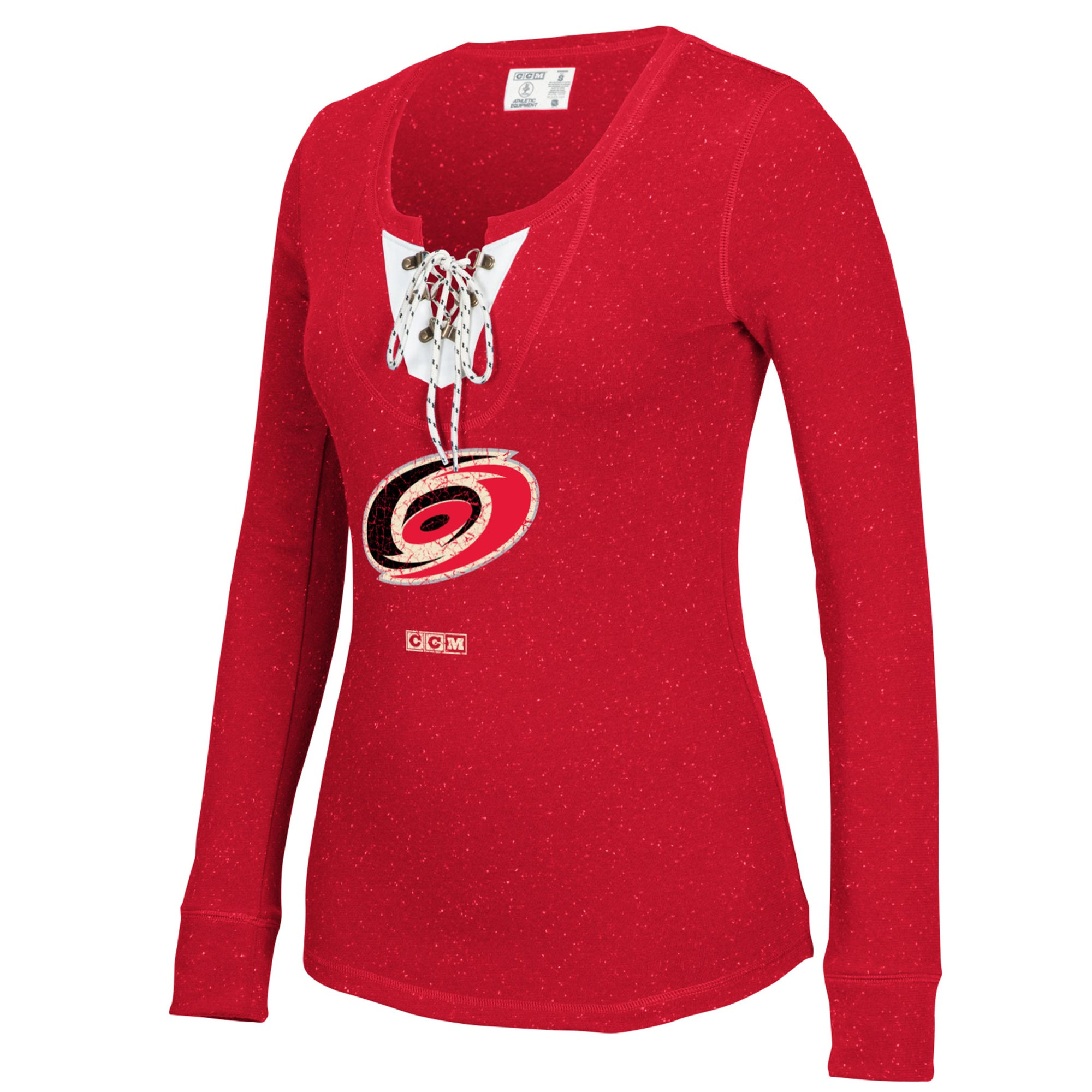 Women's CCM Red Carolina Hurricanes Lace-Up Henley Long Sleeve T-Shirt