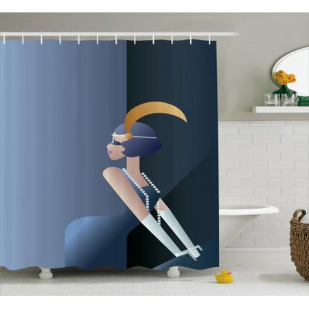Retro Shower Curtain, 20s Style Short Hair Flapper Girl with Pearl Necklace and Hair Band, Fabric Bathroom Set with Hooks, 69W X 75L Inches Long, Blue Grey and Dark Blue, - 20s Hair