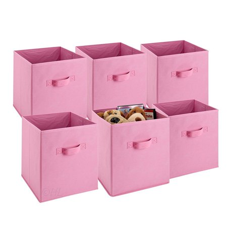 Filfeel 6 Pcs Home Storage Box Household Organizer Fabric Cube Bin Basket Container Pink - Pink Storage Bin