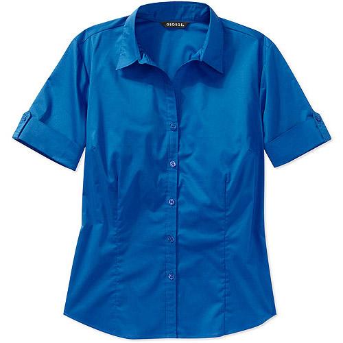 George Women's Essential Short-Sleeve Button-Down Career Shirt