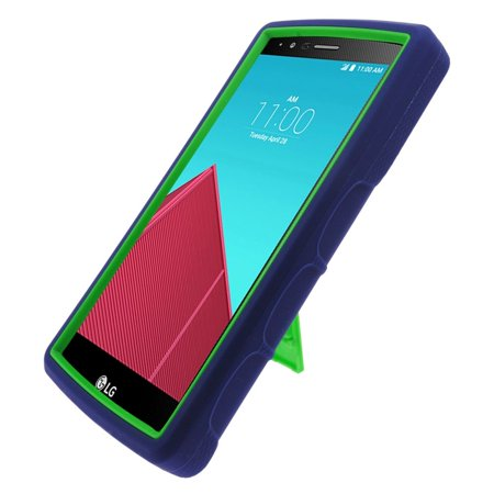 Insten Symbiosis Soft Hybrid Rubber Hard Cover Case w/stand For LG G4 - Blue/Green - image 2 of 3