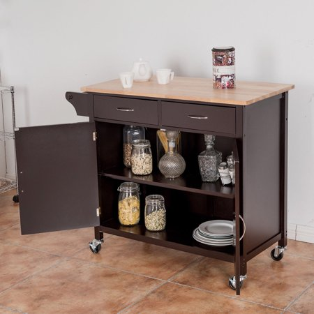 Modern Rolling Kitchen Cart Island Wood Top Storage Trolley Cabinet Utility - image 6 de 9