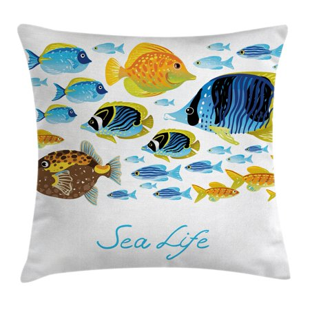 Ocean Animal Decor Throw Pillow Cushion Cover, Vivid Underwater Life with Freshwater Tropical Fish Creatures Sea Artwork, Decorative Square Accent Pillow Case, 16 X 16 Inches, Multi, by Ambesonne