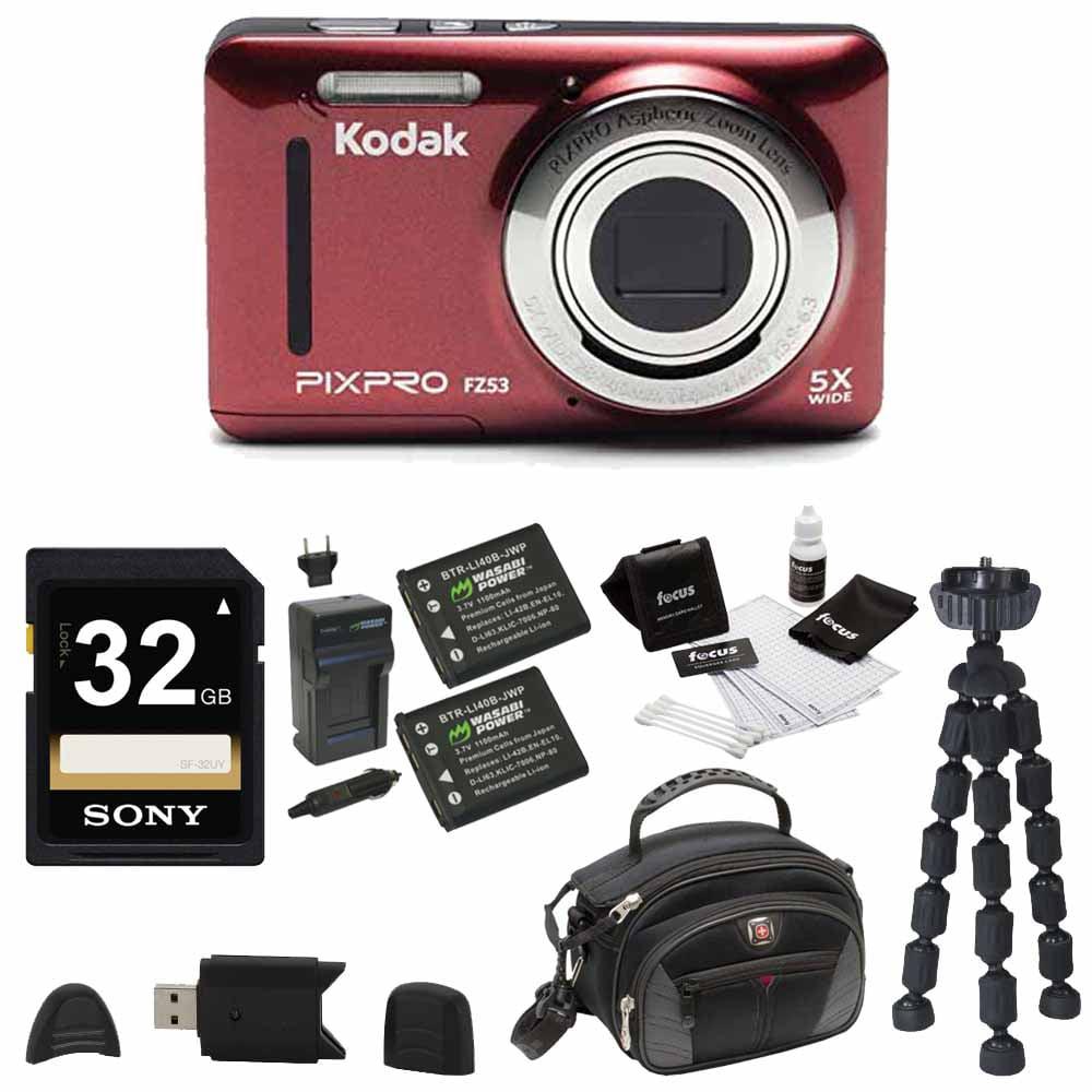Kodak PIXPRO Friendly Zoom FZ53 (Red) , 2 EXTRA Wasabi Ba...
