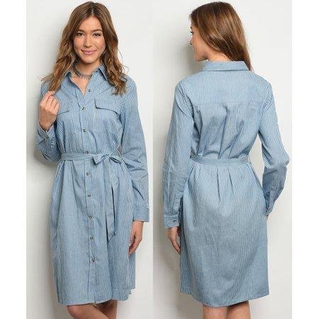a2409d72ae6 JED FASHION - JED FASHION Women s Knee Length Button Down Denim Shirt Dress  - Walmart.com