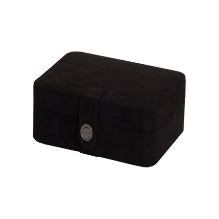 Fabric Jewelry - Mele & Co. Giana Black Plush Fabric Jewelry Box with Lift Out Tray - 7.38W x 2.38H in.