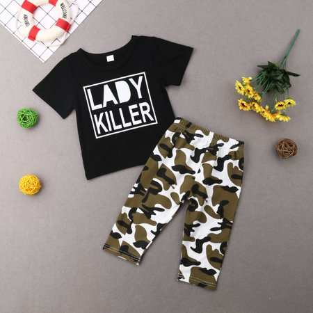 e97c97ebad7f0 2pcs Toddler Baby Boys Clothes Lady Killer Print T-shirt Hooded Top+Camouflage  Pants Outfits Set