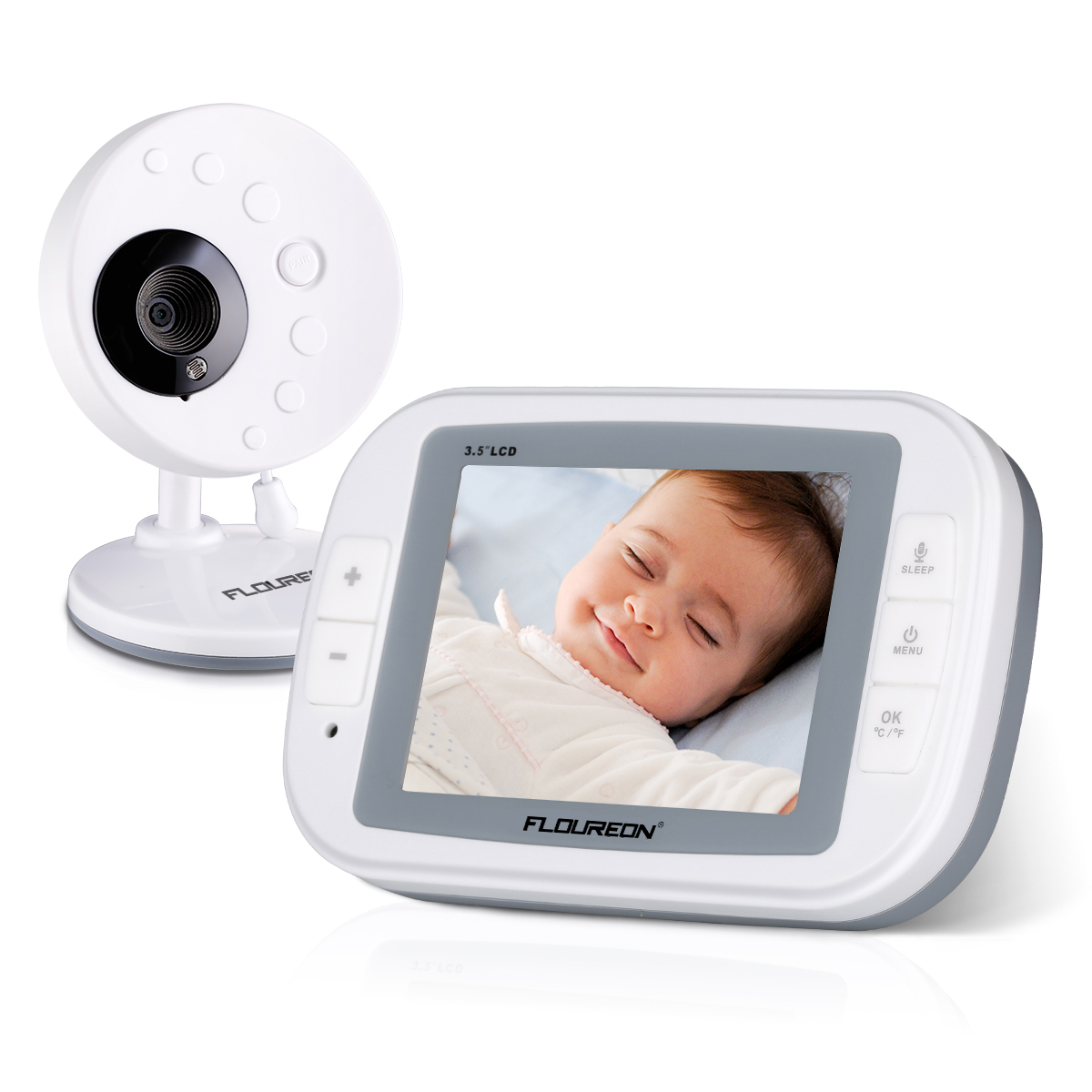 "FLOUREON 3.5"" LCD Display Digital Wireless Video Baby Monitor 2.4 GHz Security Camera with Temperature Display, Two Way Talk, Night Vision and Lullabies Radio"