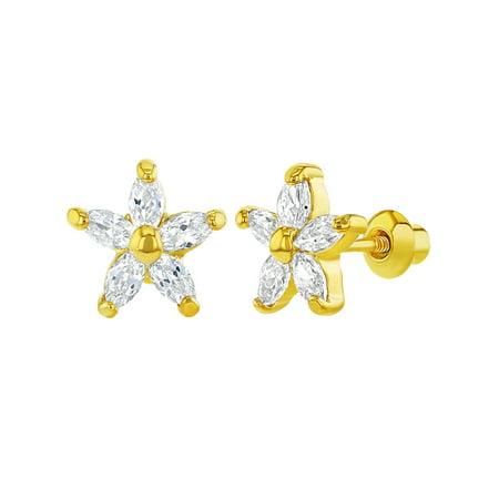 18k Gold Plated Clear CZ Daisy Flower Screw Back Girls Earrings