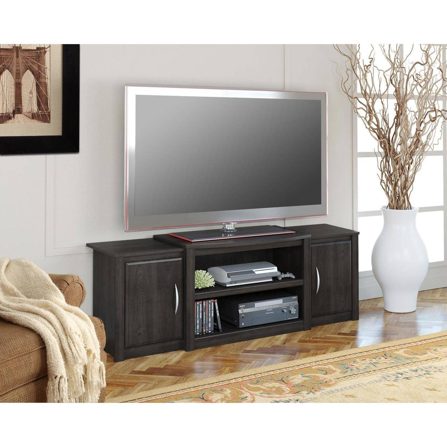 "Ameriwood Home Cohen TV Stand with Media Storage for TVs up to 60"" wide, Espresso"