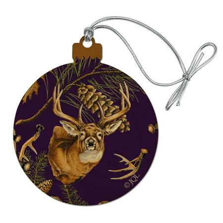 Pine Cone Christmas Tree Ornaments (Deer Antlers Pine Tree Cones Hunting Wood Christmas Tree Holiday)