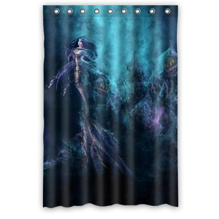 DEYOU Mermaid Girl Under Sea Shower Curtain Polyester Fabric ...