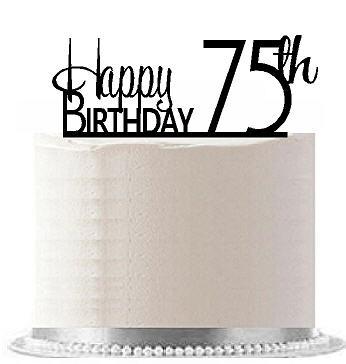 Item#AE-179 Happy 75th Birthday Agemilestone Elegant Cake Topper