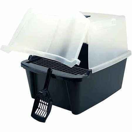IRIS Split-Hood Cat Litter Box with Scoop and Grate, Navy