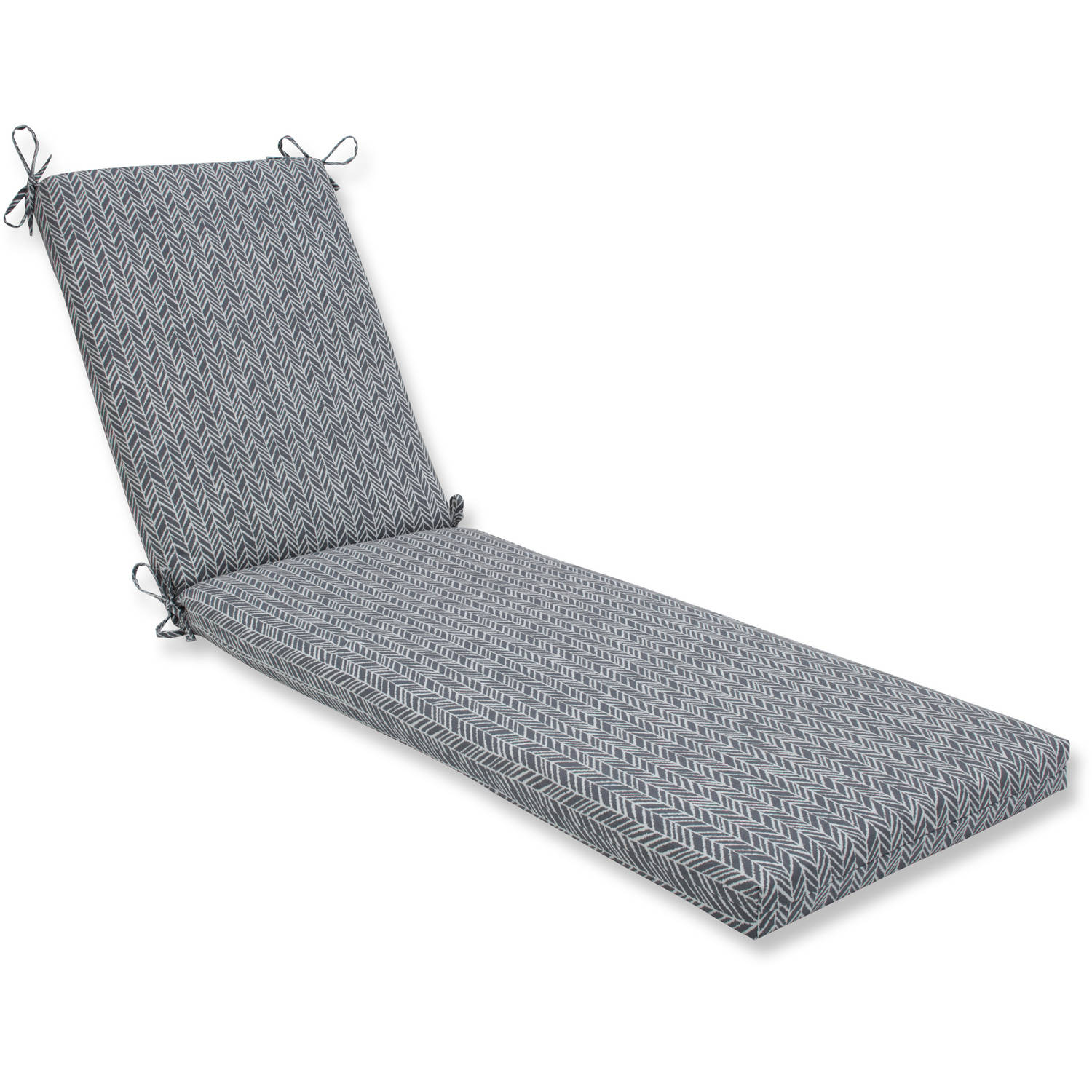 Pillow Perfect Outdoor/Indoor Herringbone Slate Chaise Lounge Cushion