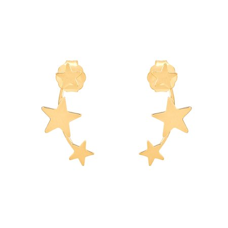 Brilliance Fine Jewelry 10K Yellow Gold Polished Three Star Climber Earrings