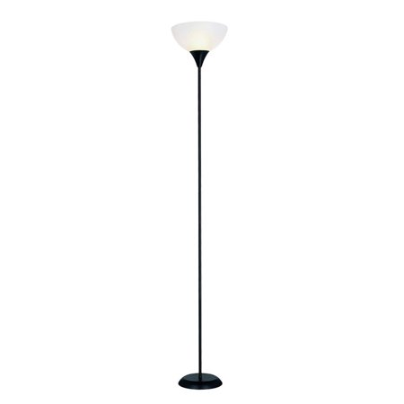 Black Torchiere Floor Lamp With White Frosted Glass Shade