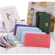 High Quality Women Zipper Leather Clutch Long Wallet Card Holder Purse Handbag