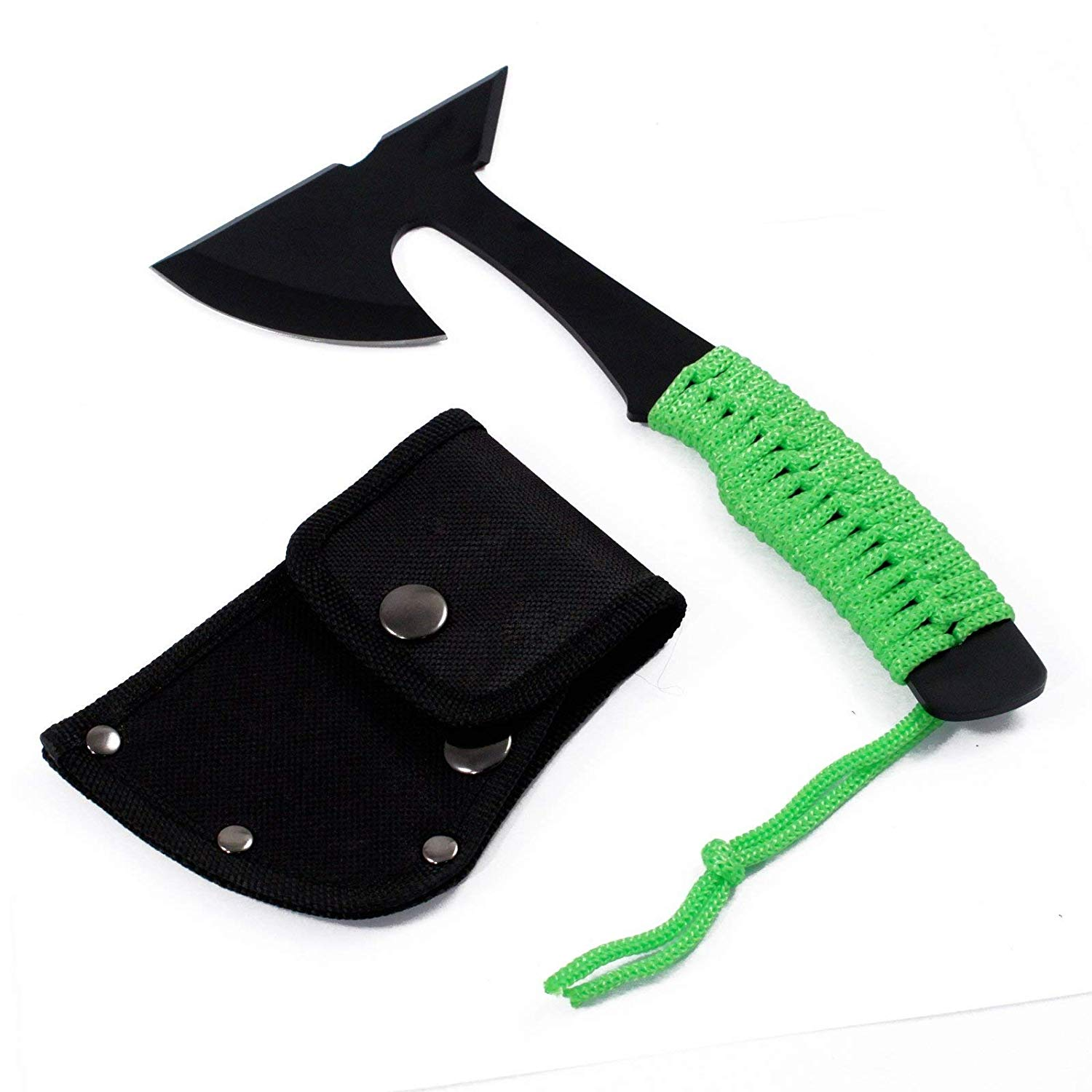 Ultra Lightweight Outdoor Micro Axe Hatchet Green Paracord Wrapped Handle, Lightweight and Durable Design By... by