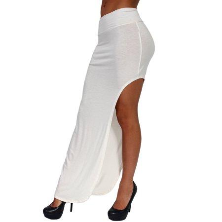 Split Spandex Skirt (Women's Skirt Split Open Side Full Length Rayon Made in the USA)