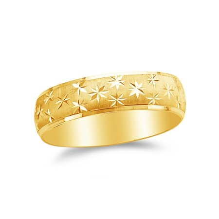 14k Yellow Gold 6mm Diamond-Cut Men's Wedding Band Ring , Size (6 Mm 14k Band)