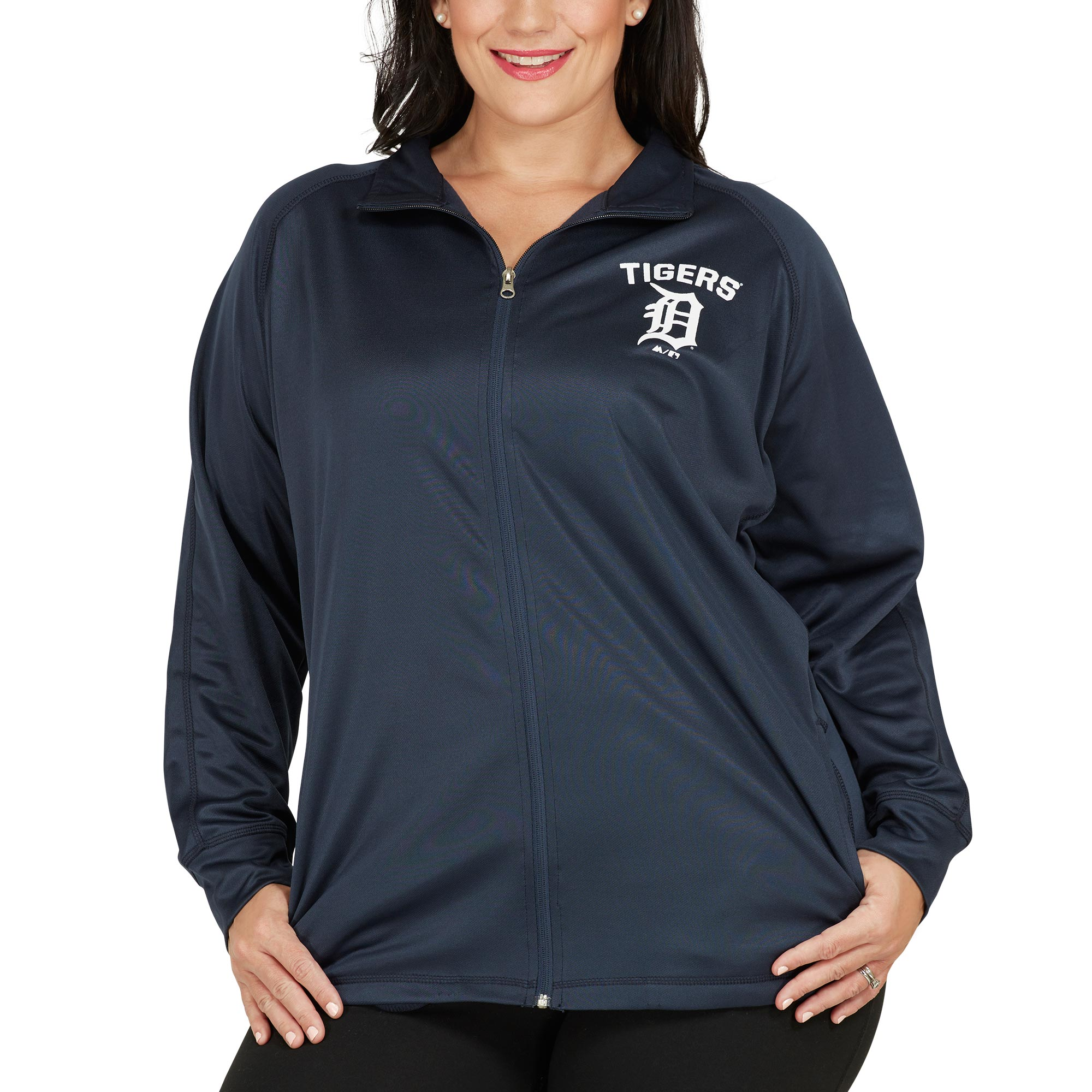 Detroit Tigers Majestic Women's Plus Size Her Winner Therma Base Full-Zip Track Jacket Navy by Profile