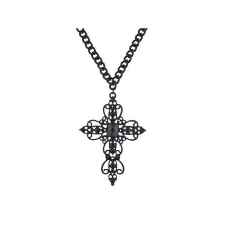 Lux Accessories Black Filigree Cross Dark Rhinestones Large Chain Necklaces