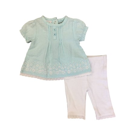 Infant Girls Blue & White Seersucker Baby Outfit Shirt & Leggings - Blue White Seersucker