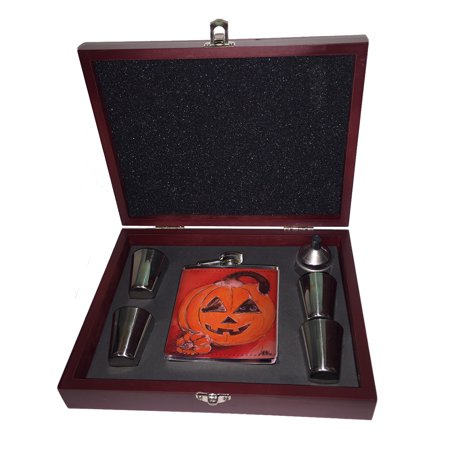 KuzmarK Pink Leather Flask Set in Rose Wood Gift Box - Silly Siamese Stuck in a Pumpkin Halloween Cat Art by Denise (Wood Thai Gift Box)