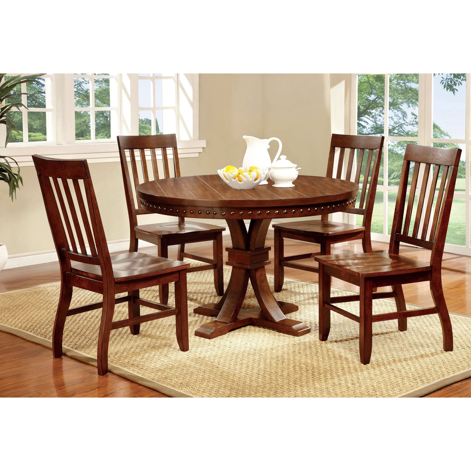 Furniture of America Fort Wooden Round Dining Table