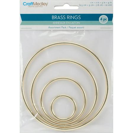 Brass 3 Ring (Brass Rings, 4/Pkg, 1 Each of 1