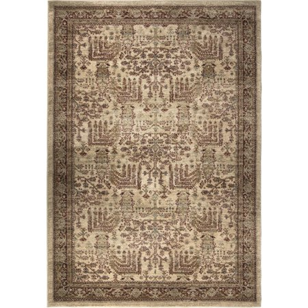 Adderley Lambert Area Rugs - 8208 Contemporary Beige Curls Lines Dotted Bordered (Adderley Antique)